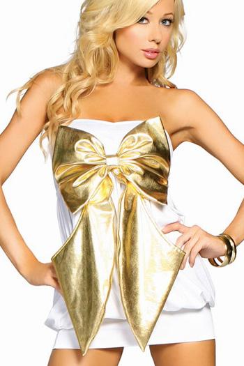 Sexy women s white spandex mini dress with plus size golden bow tie