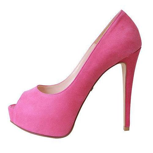 Fashion Peep Toe Platform Stiletto High Heels Rose Leather Suede Pumps