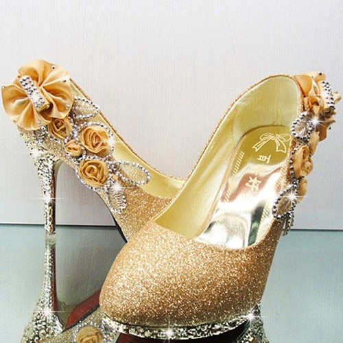 Sexy Diamond Embellished Round Closed Toe Super High Stiletto Golden Suede Wedding Shoes Pumps