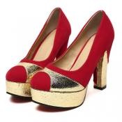 sexy Party Runde Peep Toe klobige high heels rot su