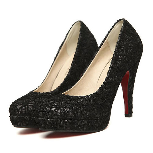 Fashion Round Closed Toe Super Stiletto High Black Lace