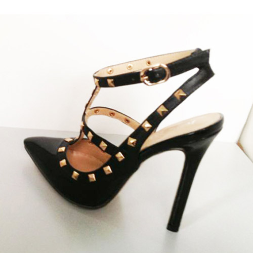 Fashion Two Strips Square Rivet Pointed Closed Toe Stiletto Super High Black Patent Leather Sandals