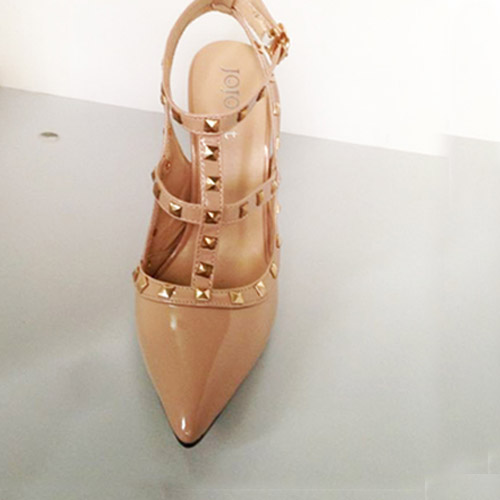 Fashion Two Strips Square Rivet Pointed Closed Toe Stiletto Super High Apricot Patent Leather Sandals