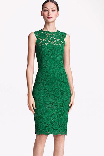 Fashion Mandarin Collar Sleeveless Green Lace Sheath Mini ...