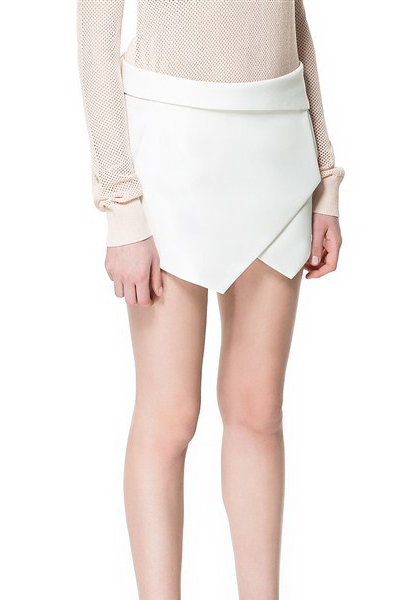 Fashion Drawstring Low Waist Solid White Cotton Shorts