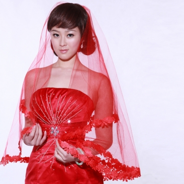Modern Lace-trim Red Gauze Wedding Veil
