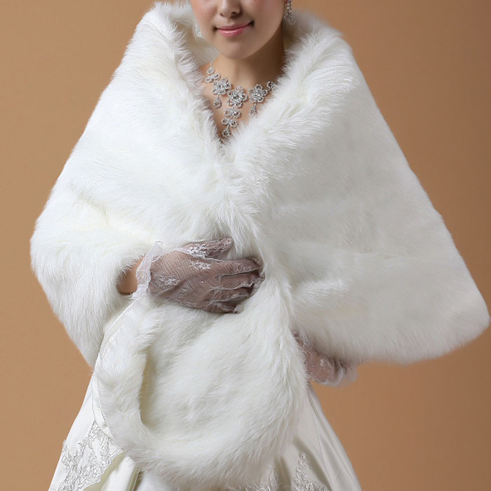 Elegant special occasion plus size white plush winter for Winter shawls for wedding dresses
