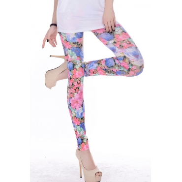 Sexy Skinny Sweet Lotus Print Polyester Mid Leggings