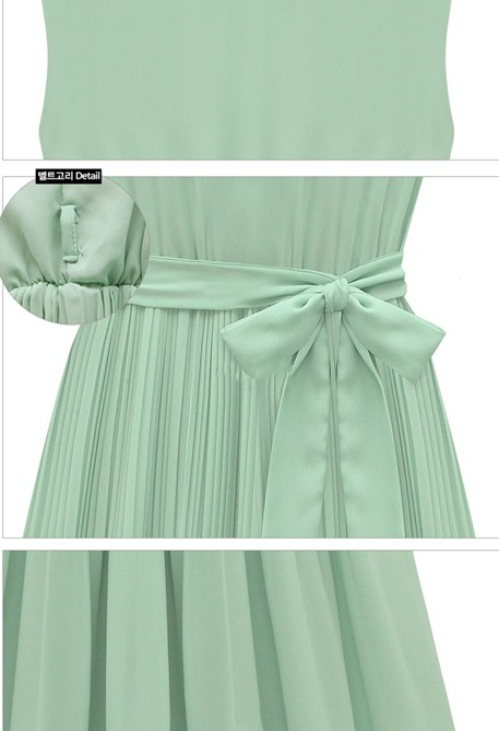 Fashion Lovely Pleated O Neck Sleeveless Chiffon Mini Dress