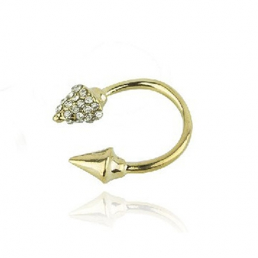 Fashion Punk Styles Golden Diamond Embellished Rivet Shaped Metal Ring