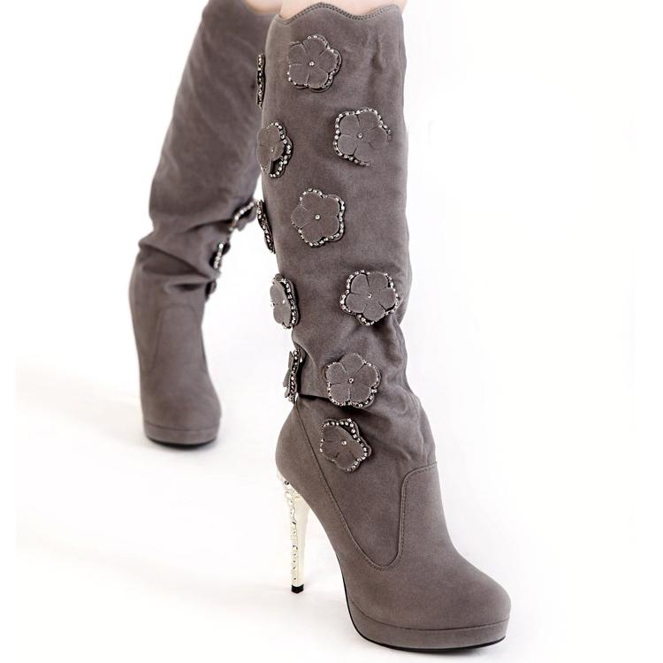 winter toe flowers embellished stiletto high heels