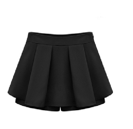 european styles pleated black polyester mini skirt skirts