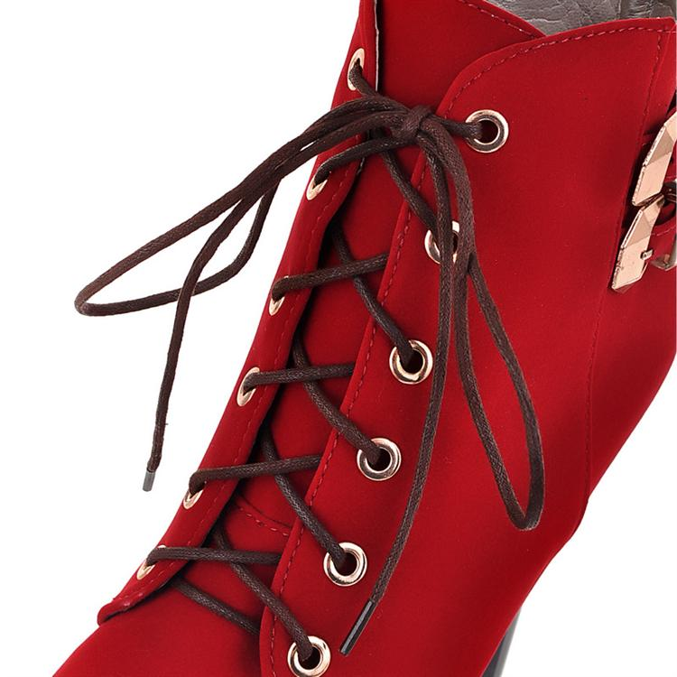 Rodada de inverno Toe Stiletto salto alto laço curto fivela preta camurça Martens as botas
