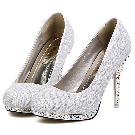 Fashion Rivets Embellished Round Closed Toe Stiletto High Heel ...