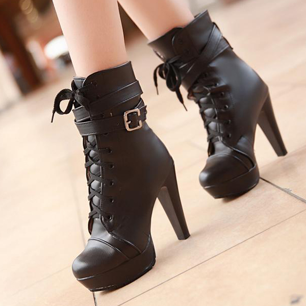Black Lace Up Boots Heels