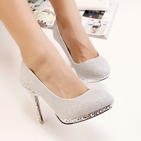 Fashion Rivets Embellished Round Closed Toe Stiletto High Heel