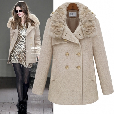 Fashion Turndown Collar Long Sleeve Double Breasted Beige Coat