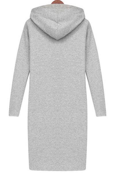 Casual O neck Long Sleeve Straight Grey Cotton Mini Dress