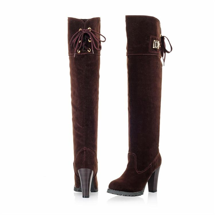 fashion toe chunky high heels brown pu slip on knee