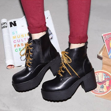 Personality Spring Autumn Round Toe Mid Heel Black Up Ankle Martens Boots
