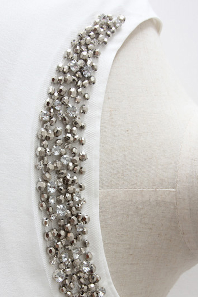 Fashion O Neck Long Sleeve White Cotton Blouse 103