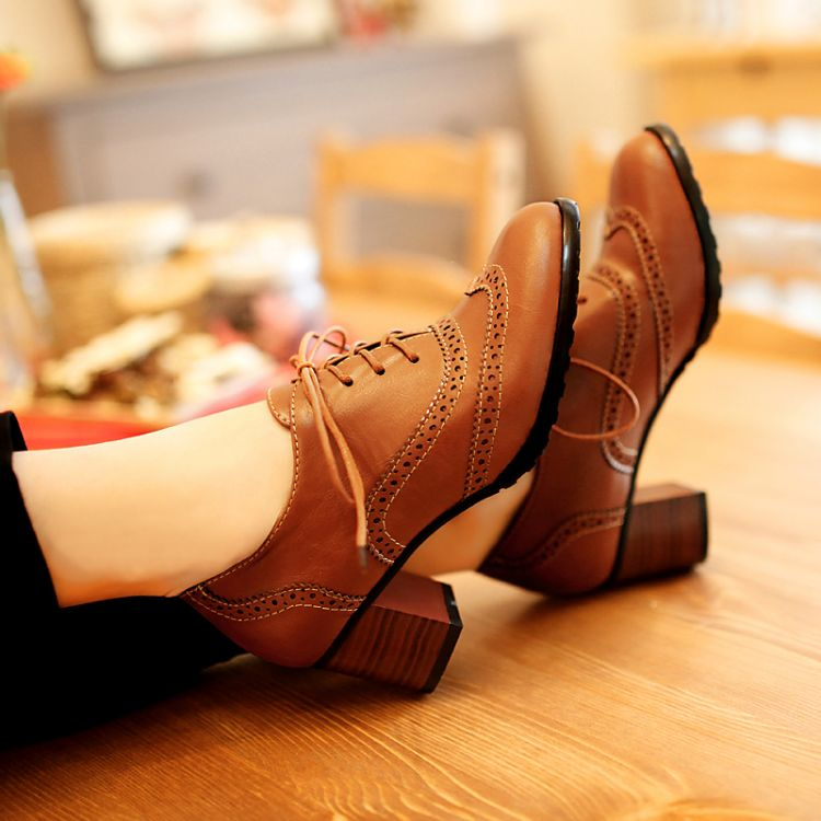 Fashion Round Toe Chunky Mid Heel Lace Up Ankle Brown PU Cavalier Boots