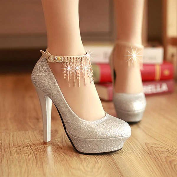 2013 Latest Round Closed Toe Stiletto High Heels Sliver PU Party ...