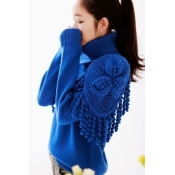 Turtleneck Long Sleeve Regular Blue Knitting Sweater