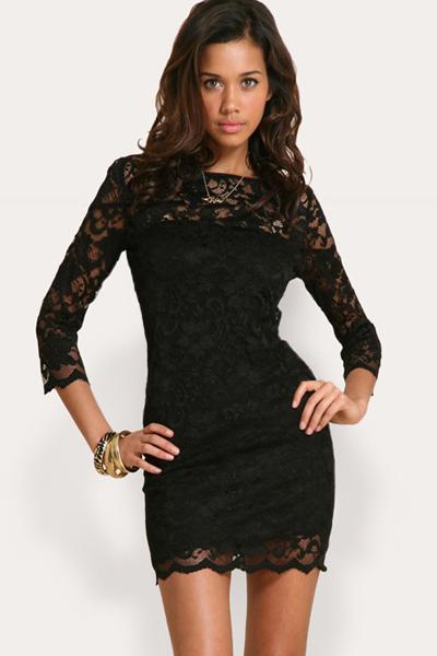 Кружевное черное короткое платье