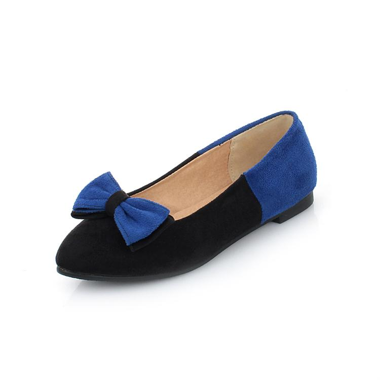 Casual Round Toe Closed Basic Low Heel Blue PU Flat Shoes