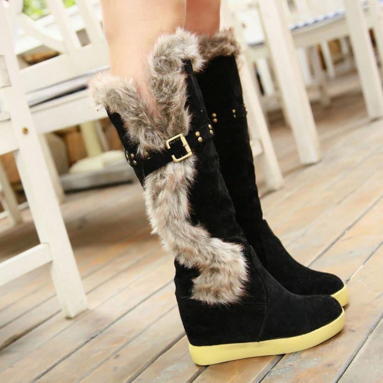 Inverno Toe Rodada Plano deslizamento salto baixo no joelho alto penas pretas de camurça botas de neve