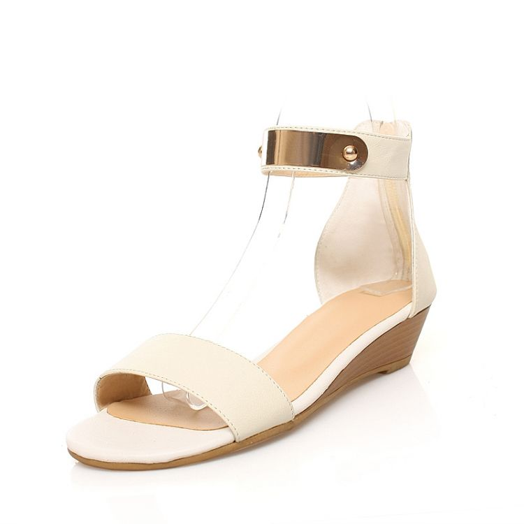 Fashion Flat Low Heel Ankle Strap White Pu Sandals Sandals