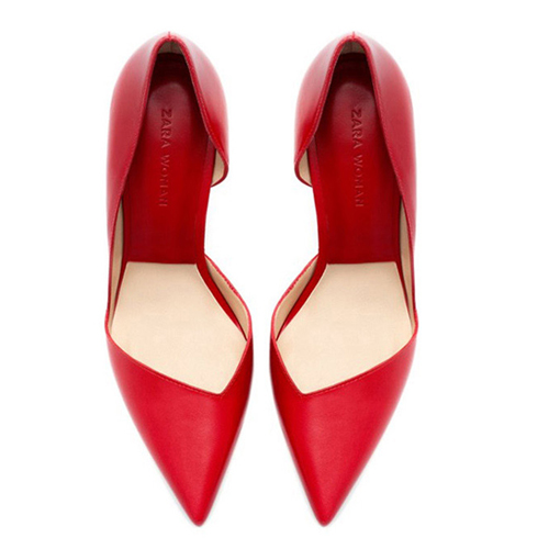 Cheap Fashion Pointed Toe Closed Stiletto High Heel Basic Red PU Pumps