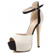Fashion Stiletto High Heel Ankle Strap PU Sandals