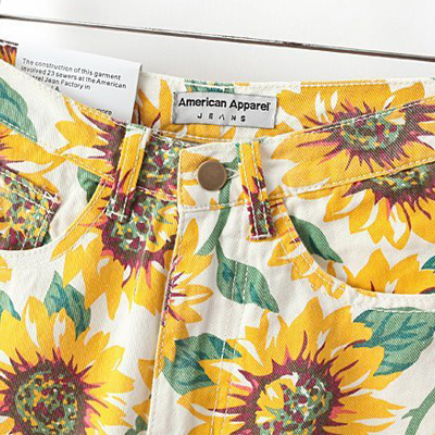 Casual Woman Sunflower Print Slim High Waist Shorts