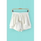 Fashion Woman Solid Elastic Waist Mid Regular White Cotton Shorts
