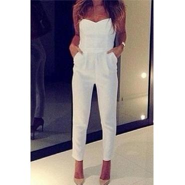Fashion V Neck Straps Sleeveless Solid Regular White Cotton Blends Jumpsuits