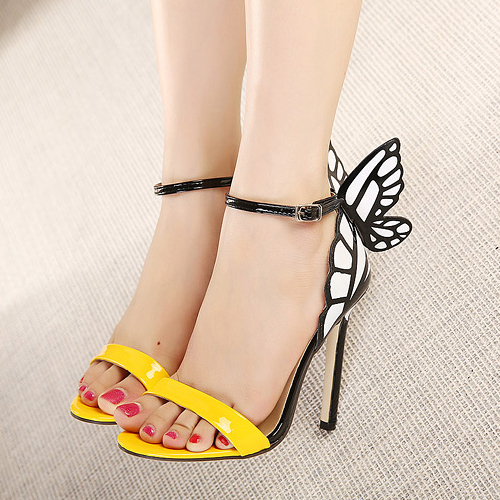 fashion stiletto high heel ankle strap yellow pu sandals. Black Bedroom Furniture Sets. Home Design Ideas