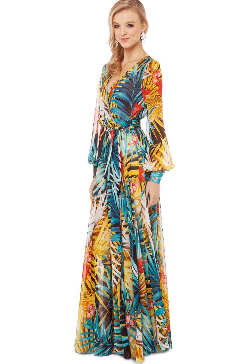 Cheap Fashion Ankle Length Beach Dress Bohemian Style V Neck