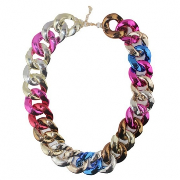 Fashion Chained Multi-colored Metal Necklace