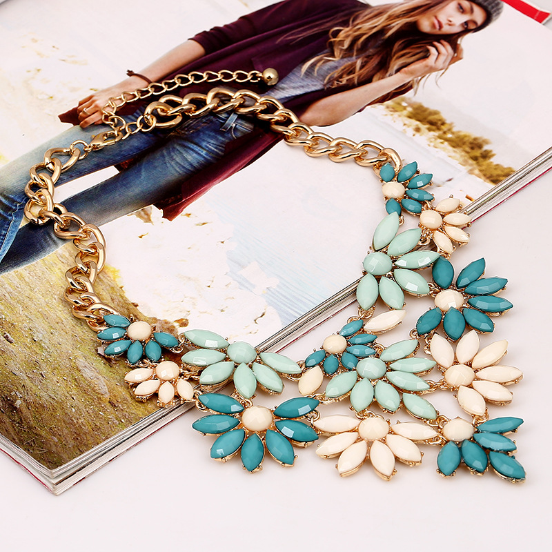 Fashion Flowers Layered Blue Metal Necklace