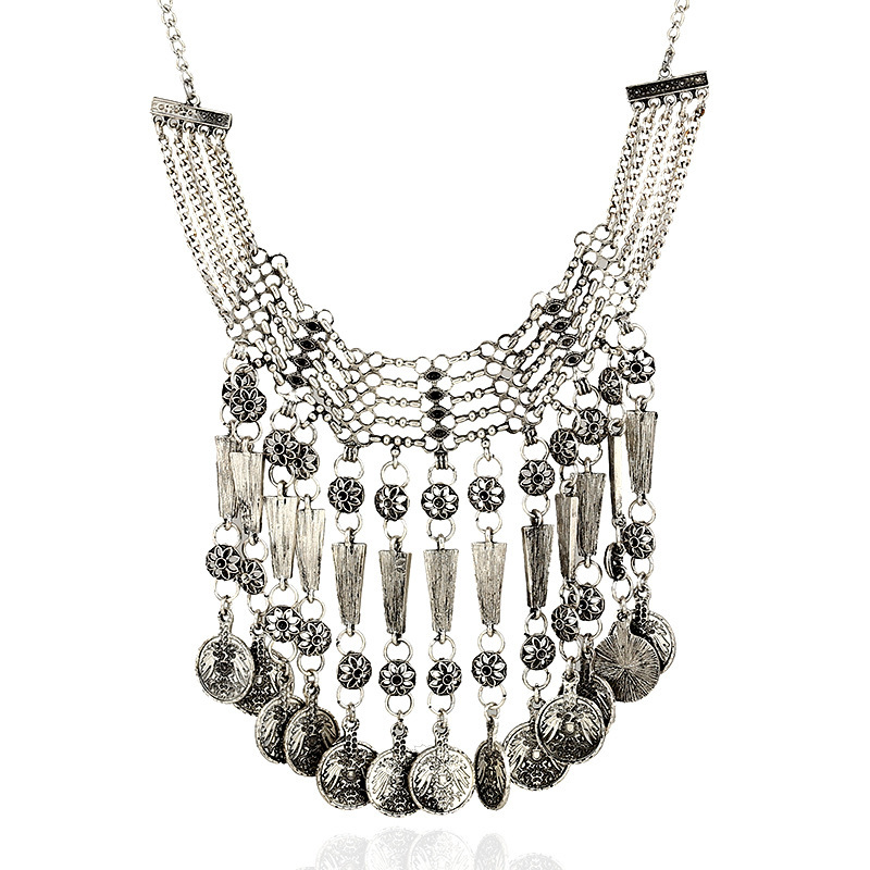 Vintage Style Evil Coins Tassels Shaped Silver Metal Necklace