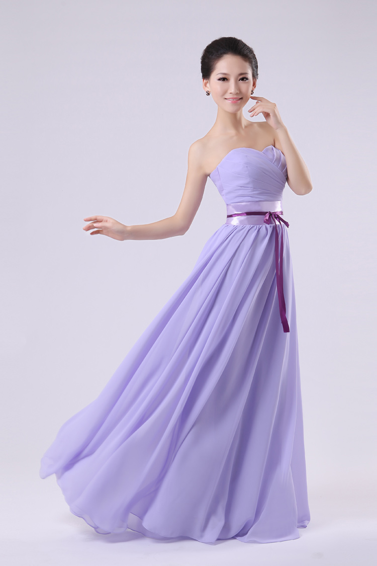 Fashion strapless off the shoulder sleeveless ribbon for Cheap lavender wedding dresses
