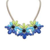 Fashion Blue Sweet Flowers Shaped Metal Necklace