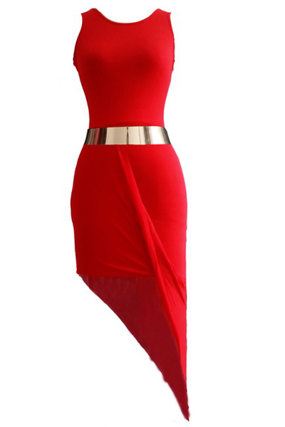 Cheap Sexy Mini Dress O Neck Sleeveless Red Dress