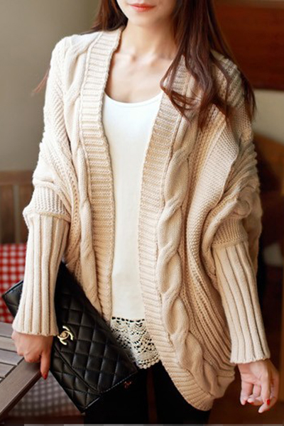 Cheap New Style Long Bat Sleeves Beige Regular Knitting Cardigan