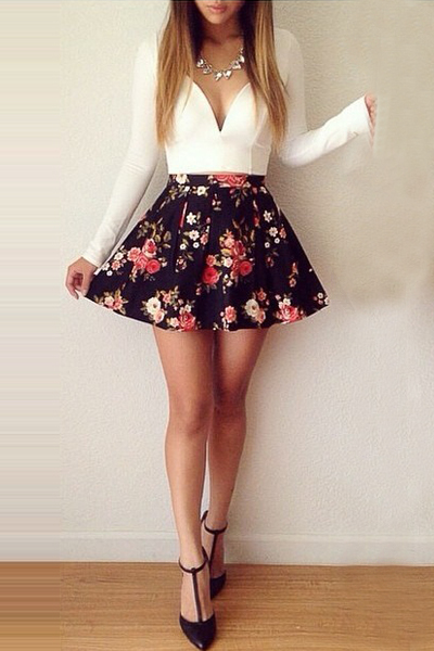 Cheap Fashion Mini Dress Long Sleeve Mini Floral Print Dress