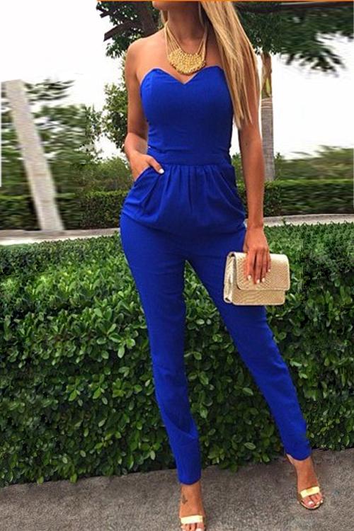 Strapless Sexy Off The Shoulder Pockets mangas design sólido mistura de algodão azul de uma peça magro Jumpsuit