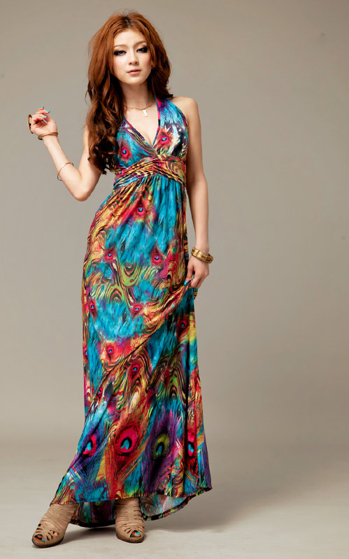 2014 Summer New Bohemian Retro Floral Slim Maternity Maxi Long Dress Europe Station Style Clothes for