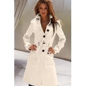 Cheap New Style Turndown Collar Long Sleeves Back Split Buckles Designed Single-breasted White Velvet Long Wool Coat